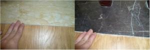 地板裁割有问题,局部边缘明显可见不平整。